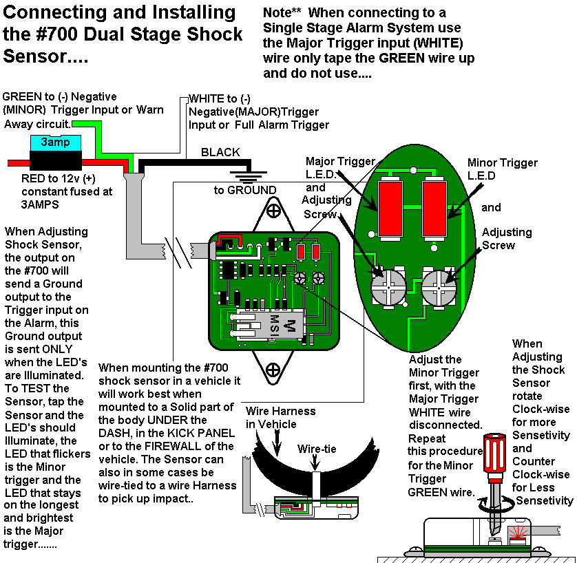 installation diagrams Fire Alarm System Diagram connecting and adjusting shock sensor 700