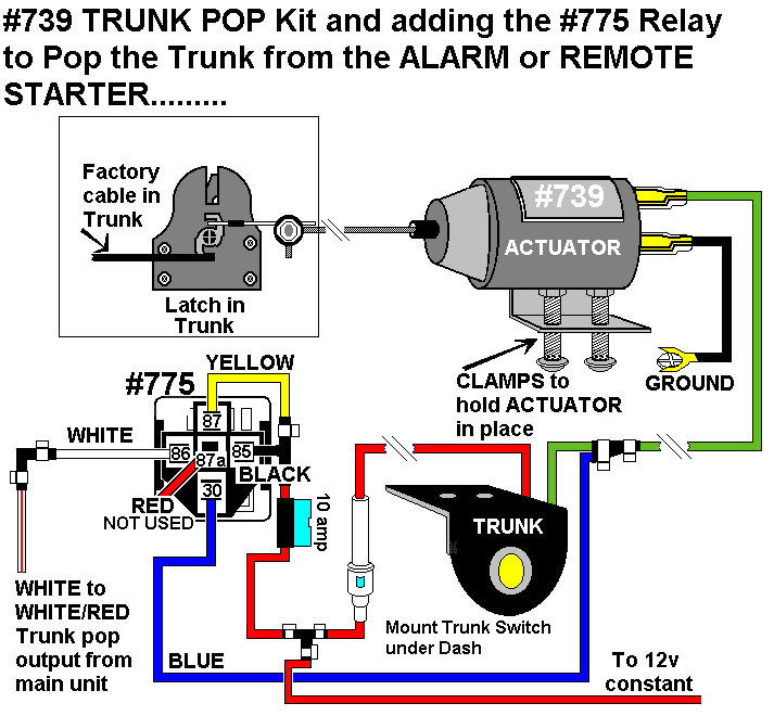 installation diagramsadding trunk pop actuator 739 · negative trunk pop using relay
