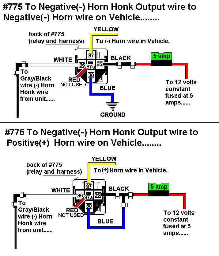 installation diagrams connecting horn honk 775