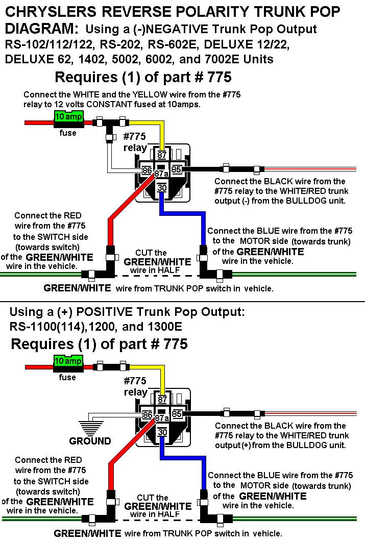 installation diagrams chrysler 5 wire trunk pop · connecting horn honk